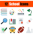 Flat design education icon set vector image