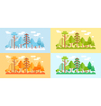 Flat Style Forest Scenery four stylized seasons vector image vector image