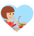 girl with fast food in his hands vector image vector image