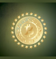 golden bitcoin coin with chain stars and name vector image