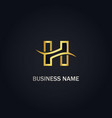 h initial company gold logo vector image vector image