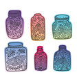 hand drawn floral jars with moth and butterfly vector image