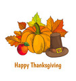 happy thanksgiving day poster with hat vector image vector image