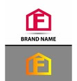 Letter f logo with home icon vector image vector image