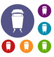 litter waste bin icons set vector image vector image