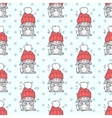 Little Rabbit in Big Red Hat Seamless Pattern vector image