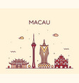 macau skyline peopl s republic china linear vector image