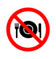 no eating sign on white background vector image
