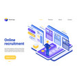 online recruitment landing page template vector image