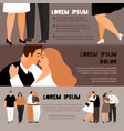 overweight couples in love banners vector image vector image