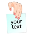 paper for notes in a womans hand vector image