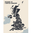 poster map regions united kingdom vector image vector image