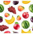 realistic fruits and berries pattern vector image vector image