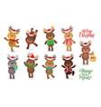 santa s reindeer set of vector image vector image