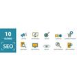 seo icon set include creative elements search vector image vector image