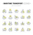 set line icons maritime transport vector image