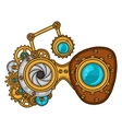 Steampunk glasses collage of metal gears in doodle vector image