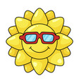 sun yellow symbol in sunglasses bright shine vector image vector image