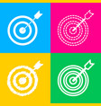 target with dart four styles of icon on four vector image