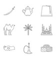 turkey stuff icons set outline style vector image vector image