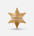 vintage bronze badge marshal star vector image vector image