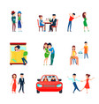wife husband responsibilities icon set vector image