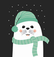 winter card with cute seal vector image vector image