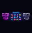 winter neon icons set christmas neon signs design vector image vector image