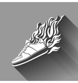 with silhouette of running shoe icon background vector image vector image