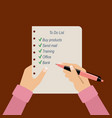 womens hands hold to do list vector image