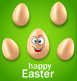 happy easter card with crazy egg humor invitation vector image