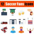 Flat design football fans icon set vector image