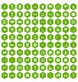 100 sport accessories icons hexagon green vector image vector image