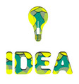 3d inscription idea and light bulb cut from paper vector image