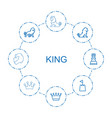 8 king icons vector image vector image