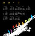 A 2017 calendar with a flock of birds vector image vector image