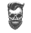 bearded skull face tattooed vector image vector image