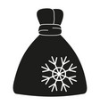 black and white xmas gift bag silhouette vector image