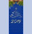 blue vertical banner for new year 2019 vector image vector image