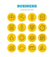 Business line icons Money chart and document vector image vector image