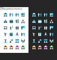 business people icons light and dark theme vector image