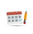 calendar or organizer icon with green check mark vector image
