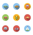 Carriage services icons set flat style vector image vector image