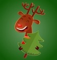 Cartoon cute christmas deer holding a christmas vector image