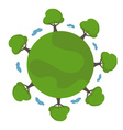 cartoon earth with trees vector image