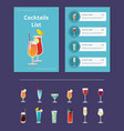 cocktail list advertisement poster with prices vector image vector image