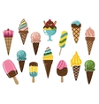 Colorful ice cream icons vector image vector image