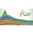 Colorful Rio sport games banner with landmark vector image vector image