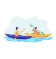 couple kayaking together vector image