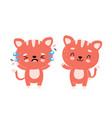 cute happy smiling cat and sad cry character vector image vector image